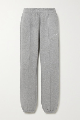 Nike Embroidered Cotton-blend Jersey Track Pants - Gray