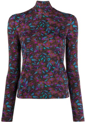La DoubleJ Floral Print Turtleneck Top