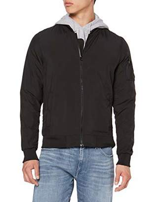 Build Your Brand Men's Nylon Bomber Jacket,Medium