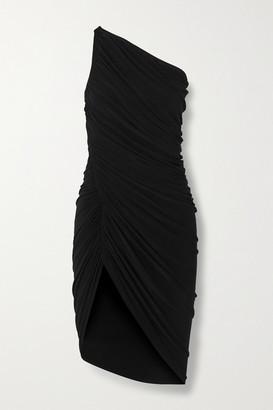 Norma Kamali Diana One-shoulder Ruched Stretch-jersey Mini Dress - Black