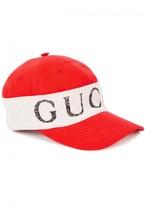 Gucci Red Logo Cotton Cap