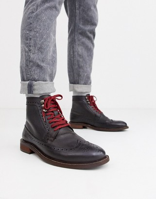 Dune lace up leather hiker boot in brown