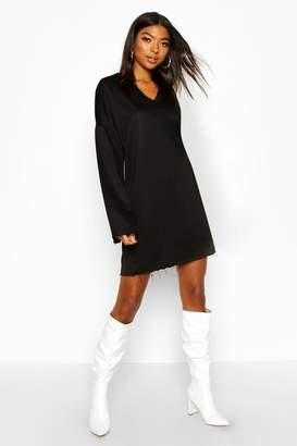 boohoo Tall Raw Edge Sweat Dress