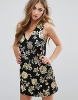 Missguided Floral Jacquard Shift Mini Dress