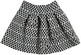 Lm Lulu Houndstooth Style Skirt W/Floral Patches
