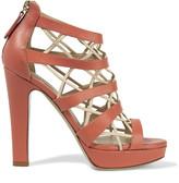 Valentino Cutout leather platform sandals