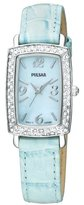 Pulsar Women's PTC501 Crystal Case Blue Leather Strap Blue Mother-of-Pearl Dial Watch