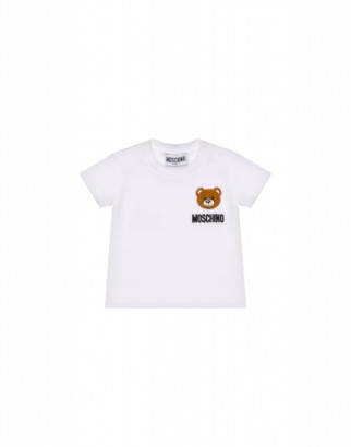 Moschino Maxi T-shirt With Teddy Bear Patch Unisex White Size 9/12m It
