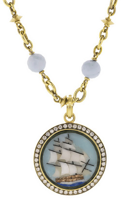 Sylva & Cie Agate Lapis and Onyx Ship Pendant