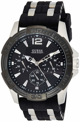 GUESS Black Stainless Steel Stain Resistant Silicone Watch with Day Date + 24 Hour Military/Int'l Time. Color: Black (Model: U0366G1)