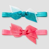 Cat & Jack Girls' 2pk Bow Headbands Cat & Jack - Pink/Turquoise
