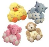 Pem America Animal and Blanket Toy and Blanket Blue Lamb