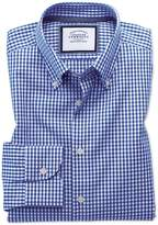 Slim Fit Button-Down Business Casual Non-Iron Royal Blue Cotton Dress Shirt Single Cuff Size 15.5/33 by Charles Tyrwhitt