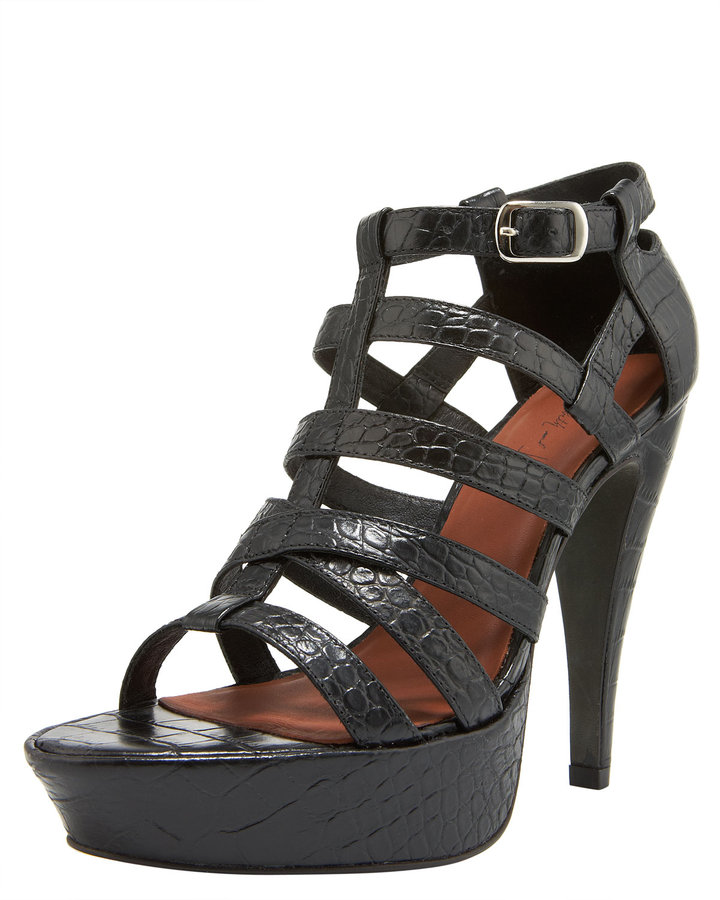 Elizabeth and James Croc-Embossed Platform Sandal