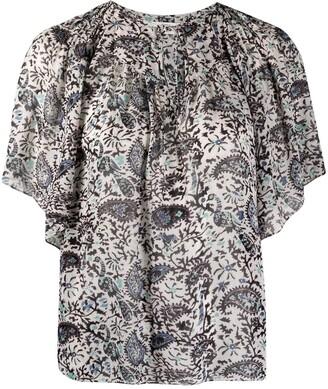 Etoile Isabel Marant Neslya paisley short-sleeve blouse