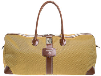 S.t. Dupont Yellow/Brown Canvas and Leather Fender Cosy Weekend Bag