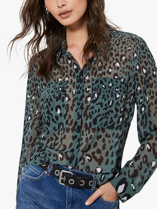 Mint Velvet Salma Leopard Print Blouse, Multi