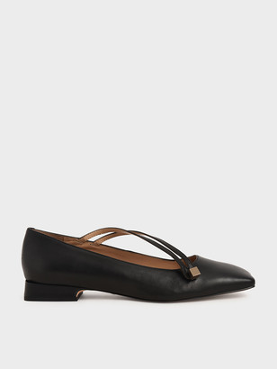 Charles & Keith Leather Asymmetric Strap Ballerina Flats