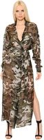 Alexandre Vauthier Camo Printed Belted Silk Chiffon Dress