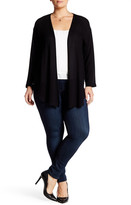 Hip Open Front Woven Cardigan (Plus Size)