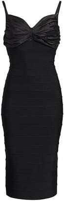 Herve Leger Ruched Top Midi Bandage Dress