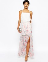 Asos Maxi Skirt in Floral Print with Tiered Lace Inserts Co-ord