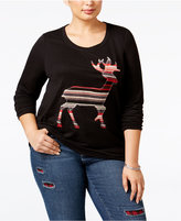 Style&Co. Style & Co Plus Size Reindeer Sweatshirt, Only at Macy's