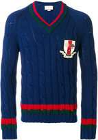 Gucci patch Web cable knit jumper