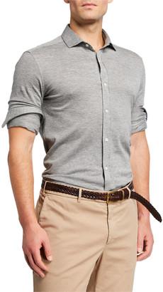 Brunello Cucinelli Men's Heathered Jersey Sport Shirt