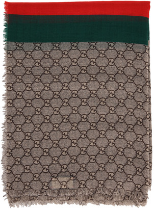 Gucci Gg Wool Stole With Web