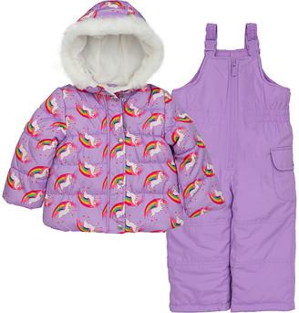 Carter's Girls' Puffer Coats PURPLE - Purple Unicorn Parka & Purple Snow Bib Set - Infant & Toddler