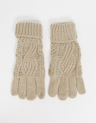 Boardmans cable knitted glove with turn up cuff in oat