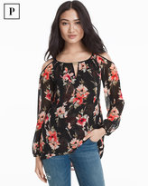 White House Black Market Petite Floral Print Cold-Shoulder Blouse