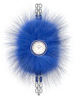 Fendi My Way Ceramic and Stainless Steel Fur-Trimmed Watch