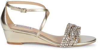 Badgley Mischka Tressa Embellished Metallic-Leather Wedge Sandals