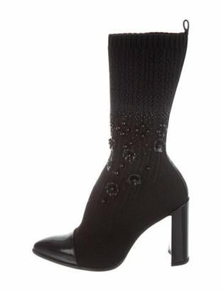 Stuart Weitzman Sockhop Crystal Embellishments Sock Boots Black