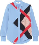 MSGM Lace-paneled Silk Crepe De Chine Shirt - Blue