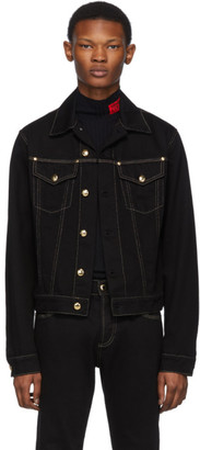 Versace Black Denim Contrast Stitching Jacket