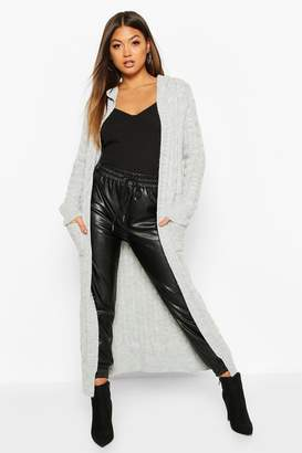 boohoo Cable Knit Hooded Maxi Cardigan