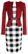 Eyekepper Women's Office Fake Two Piece Bodycon Fashion Plaid Dress with Belt