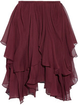 Chloé Asymmetric Layered Silk-georgette Mini Skirt - Burgundy