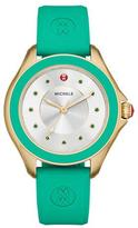 Michele Cape Green Topaz Watch with Silicone Strap, Yellow Golden