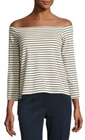 Theory Aprine K Classic Stripe Off-the-Shoulder Top, White