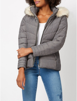 George Faux Fur Trim Padded Coat