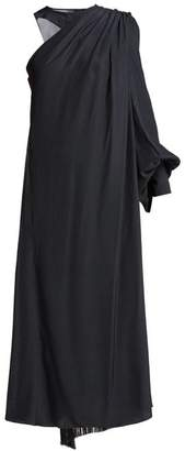 Hillier Bartley Polka Dot One Shoulder Silk Dress - Womens - Navy White