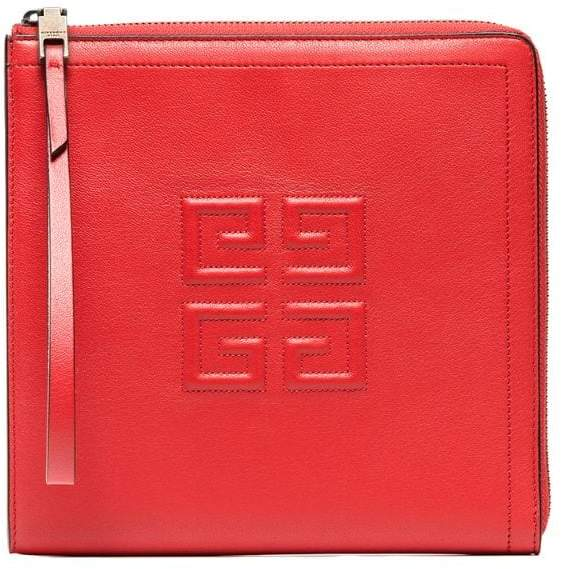 Givenchy Red Iconic Leather Wristlet Pouch