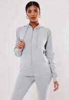 Missguided Petite Gray Co Ord Stripe Zip Through Hoodie