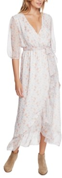 1 STATE Woodland Floral-Print Wrap Maxi Dress