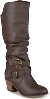 Journee Collection Dark Brown Late Wide-Calf Boot