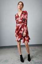 Keepsake THIS MOMENT LONG SLEEVE WRAP DRESS deep red floral